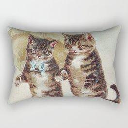 Vintage Cats Walking with Parasol Rectangular Pillow