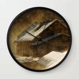 Snowstorm in the magic hour Wall Clock