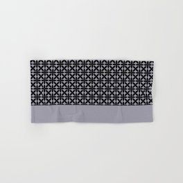 Black Square Petal Pattern on Pantone Lilac Gray Hand & Bath Towel