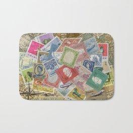 World Stamps Bath Mat