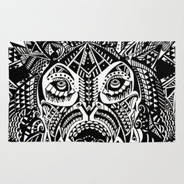 Tribal Inspired Lion ink illustration Rug
