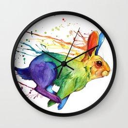 Rainbow Rabbit Wall Clock