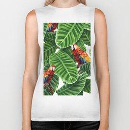 tropical leaves macaw pattern Biker Tank