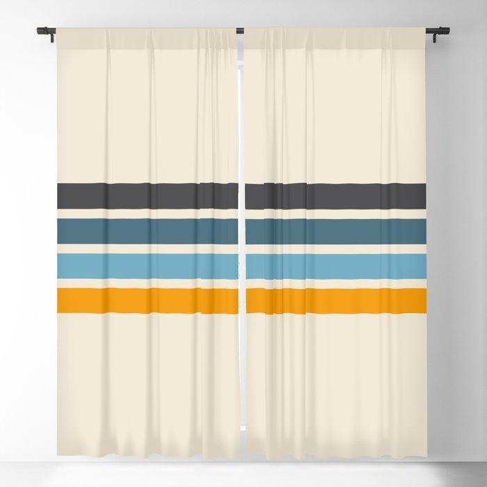 Vintage Retro Stripes Blackout Curtain