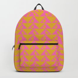 Geometric Triangle Pattern in Sunny Yellow and Neon Pink Backpack