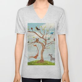 Tree with animals.Bunch of cute little creatures gathered on the branches of tree Unisex V-Neck