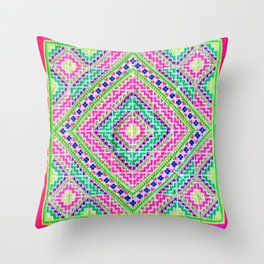 Hmong love square cross stitch Throw Pillow