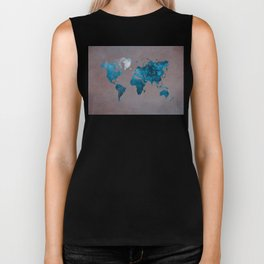 world map 104 blue #worldmap #map Biker Tank