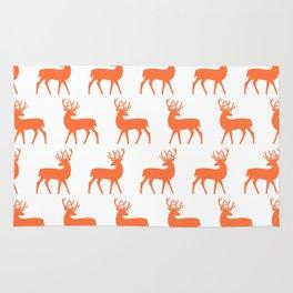 Mid Century Modern Deer Pattern Orange 3 Rug