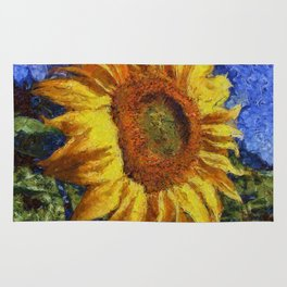 Sunflower In Van Gogh Style Rug