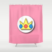 princess peach Shower Curtains featuring The Emblem of the Princess, Peach by Minimal Game