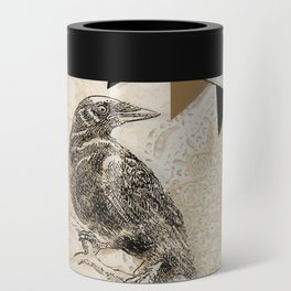 Crow, Brown Banner, Doily, Digital Design Can Cooler