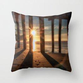 Through the Blinds sun bursts through Avila Pier Avila Beach California Throw Pillow
