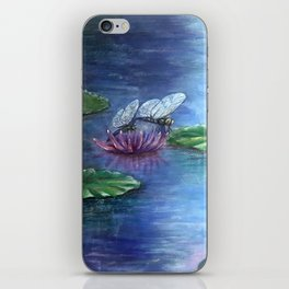 Dragonflies and water lilies iPhone Skin