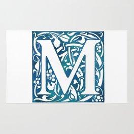 Letter M Antique Floral Letterpress Rug
