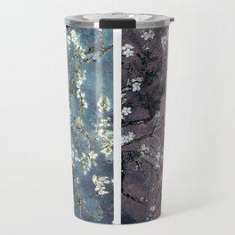 Vincent Van Gogh : Almond Blossoms Panel aRt Dark Pink Eggplant Teal Travel Mug