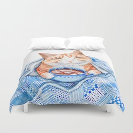 Happy Cat Drinking Hot Chocolate Duvet Cover
