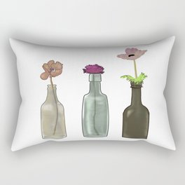 flowers in glass bottles . Pastel colors . ( https://society6.com/totalflora/collection ) Rectangular Pillow