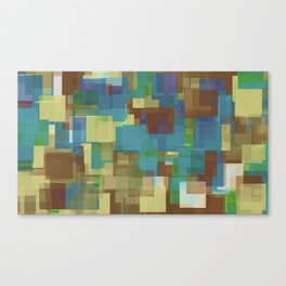 brown yellow and blue square pattern abstract background Canvas Print