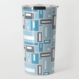 Geometric Pattern in Blue and Gray Travel Mug