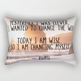 Motivational Rumi Quotation - Yesterday I was Clever Quote Art Rectangular Pillow