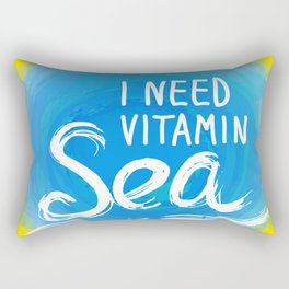 i need vitamin sea White text on blue abstract background, symbol of the sea ocean trendy print Rectangular Pillow