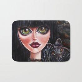 Batgirl Victorian Goth Girl with Grey Bat Big Green Eyes Bath Mat