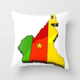 Cameroon Map with Cameroonian Flag Throw Pillow