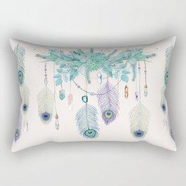 Peacock And Eucalyptus Crystal Spirit Gazer Rectangular Pillow