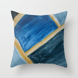 Blue Abstract Geometry Throw Pillow