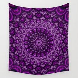 Magenta Fractal Kaleidoscope Wall Tapestry