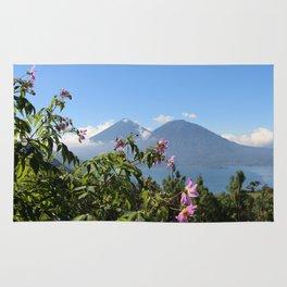 Lago Atitlan and flowers Rug