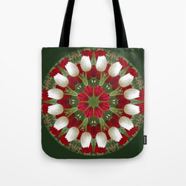 Tulip Kaleidoscope - Red And White Tote Bag