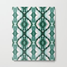 Watercolor Green Tile 1 Metal Print