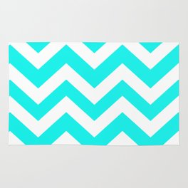 Fluorescent blue - heavenly color - Zigzag Chevron Pattern Rug