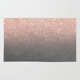 Rose gold glitter ombre grey cement concrete Rug