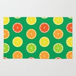 orange lemon lime grapefuit pattern Rug