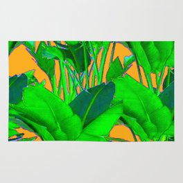 BRIGHT GREEN & GOLD TROPICAL FOLIAGE ART Rug