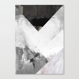 Marble black and white texture illustration art print gray scale Canvas Print