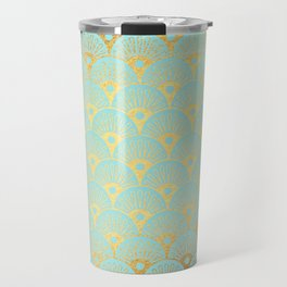 Art Deco Mermaid Scales Pattern on aqua turquoise with Gold foil effect Travel Mug