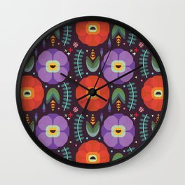 Flowerfully Folk Wall Clock