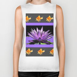 Gold Fish Purple Color Abstract Water Lily Grey Art Biker Tank