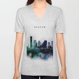 Boston City Skyline Unisex V-Neck