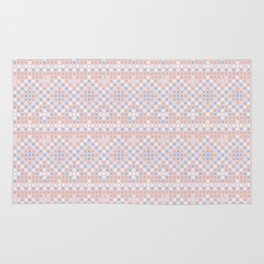 Vintage blush pink blue white cross stitch pattern Rug