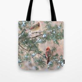 Winter Pair Cardinals (sq) Tote Bag