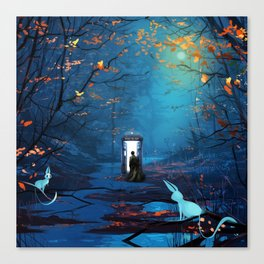Tardis And The Doctor Lost In The Forest Canvas Print