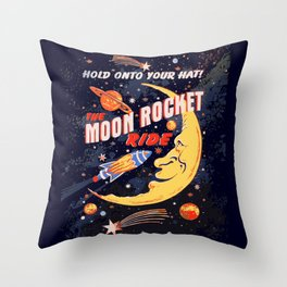Rocket Moon Ride (vintage) Throw Pillow