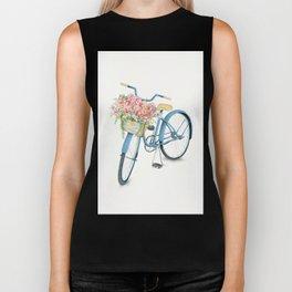Blue Bicycle with Flowers in Basket Biker Tank