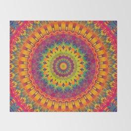 Mandala 073 (Neon) Throw Blanket