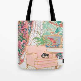 Catnap - Tuxedo Cat Napping in Chair by the Window Tote Bag